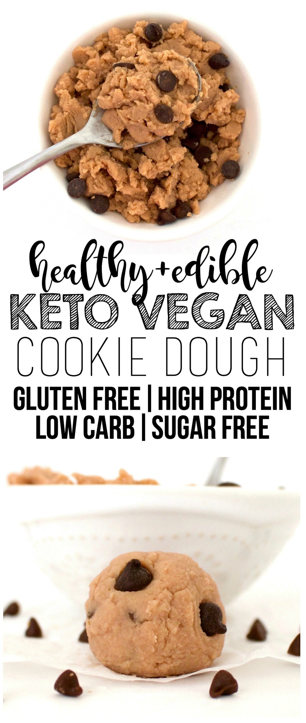 This Keto Vegan Cookie Dough is absolutely heavenly! It's only 138 calories for a whole bowl of it. Gluten-free, sugar-free, dairy-free, low-carb, and high-protein! The healthiest cookie dough EVER!