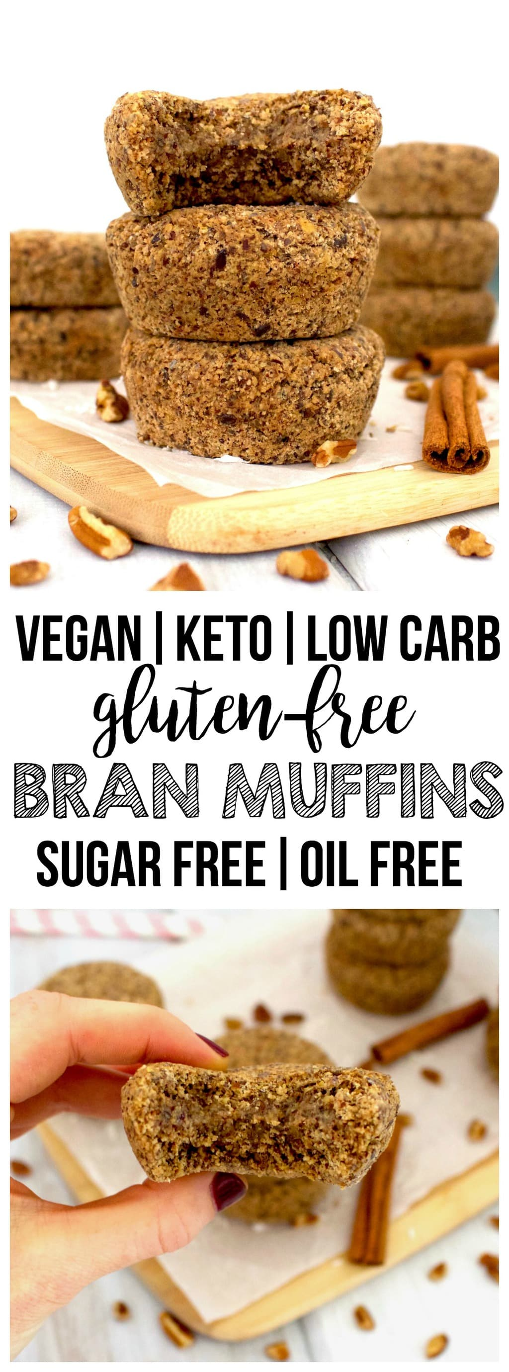 These Keto Vegan Bran Muffins are totally delicious and a perfect, filling breakfast! Loaded with fiber and will keep you full all morning. Gluten-free, sugar-free, low-carb, dairy-free & low-calorie - only 69 calories each!