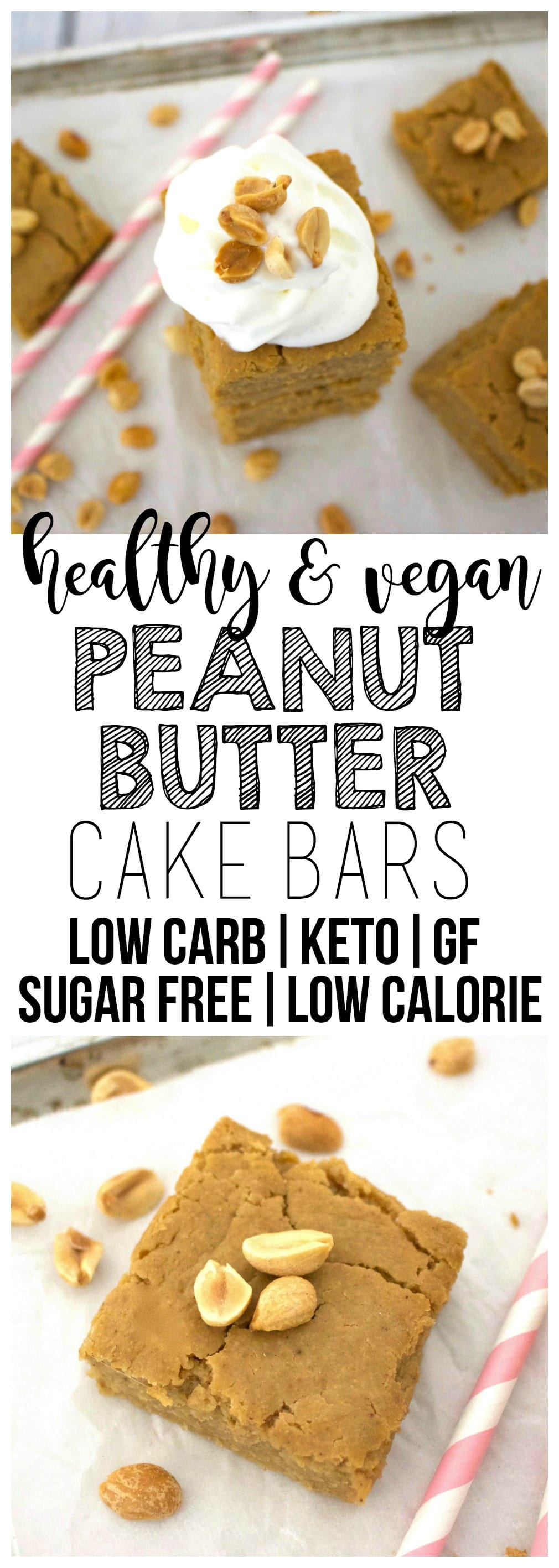 Healthy Peanut Butter Cake Bars (Keto, Sugar-Free, Low-Carb, Oil-Free, Vegan, Gluten-Free)