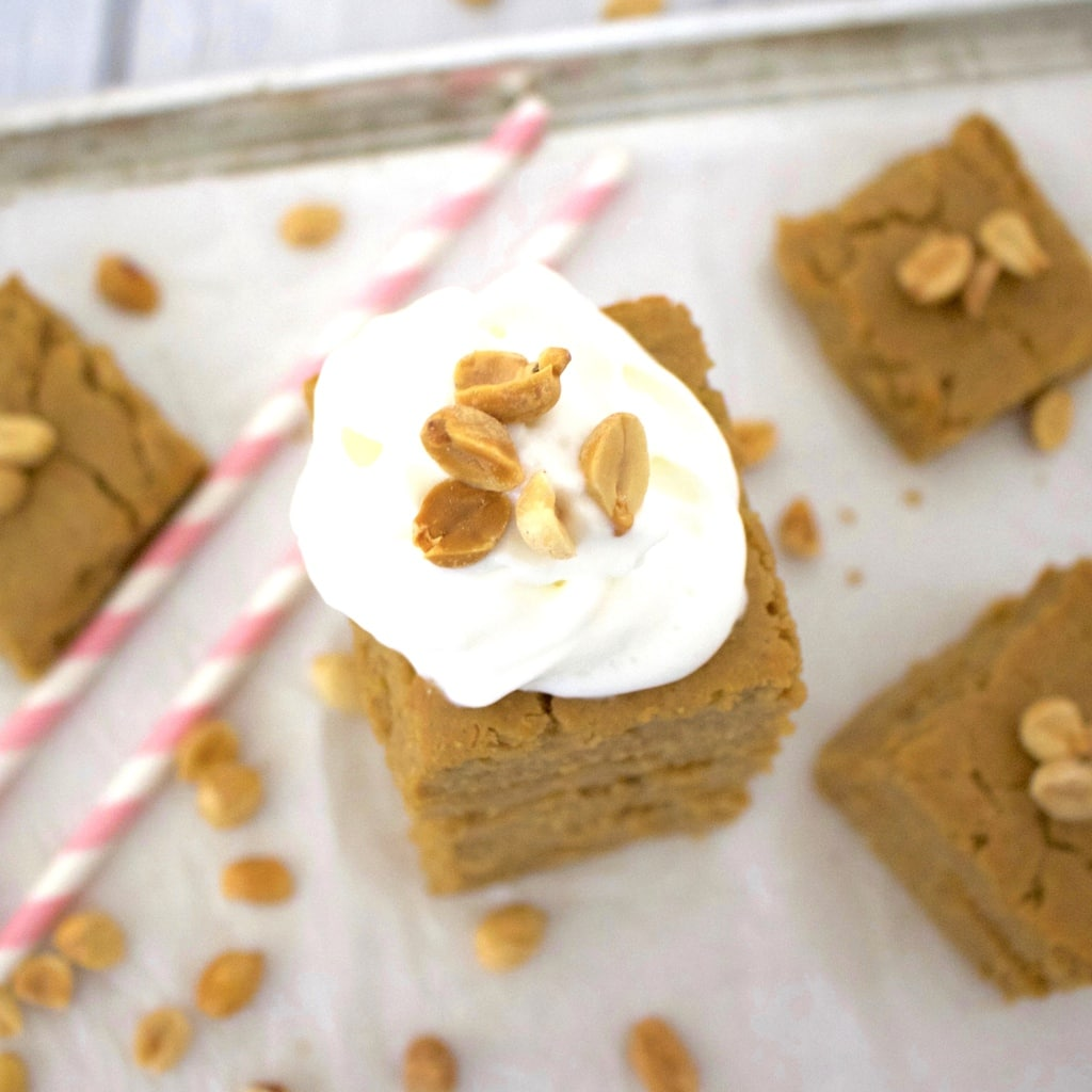 These AMAZING Vegan Peanut Butter Cake Bars taste like a sinfully delicious treat, but they're actually super healthy for you! Only 66 calories each, gluten-free, sugar-free, oil-free, and low-carb.