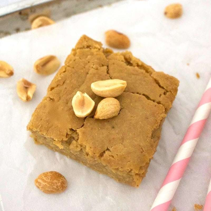 These AMAZING Vegan Peanut Butter Cake Bars taste like a sinfully delicious treat, but they're actually super healthy for you! Only 66 calories each, gluten-free, sugar-free, oil-free, keto, and low-carb.
