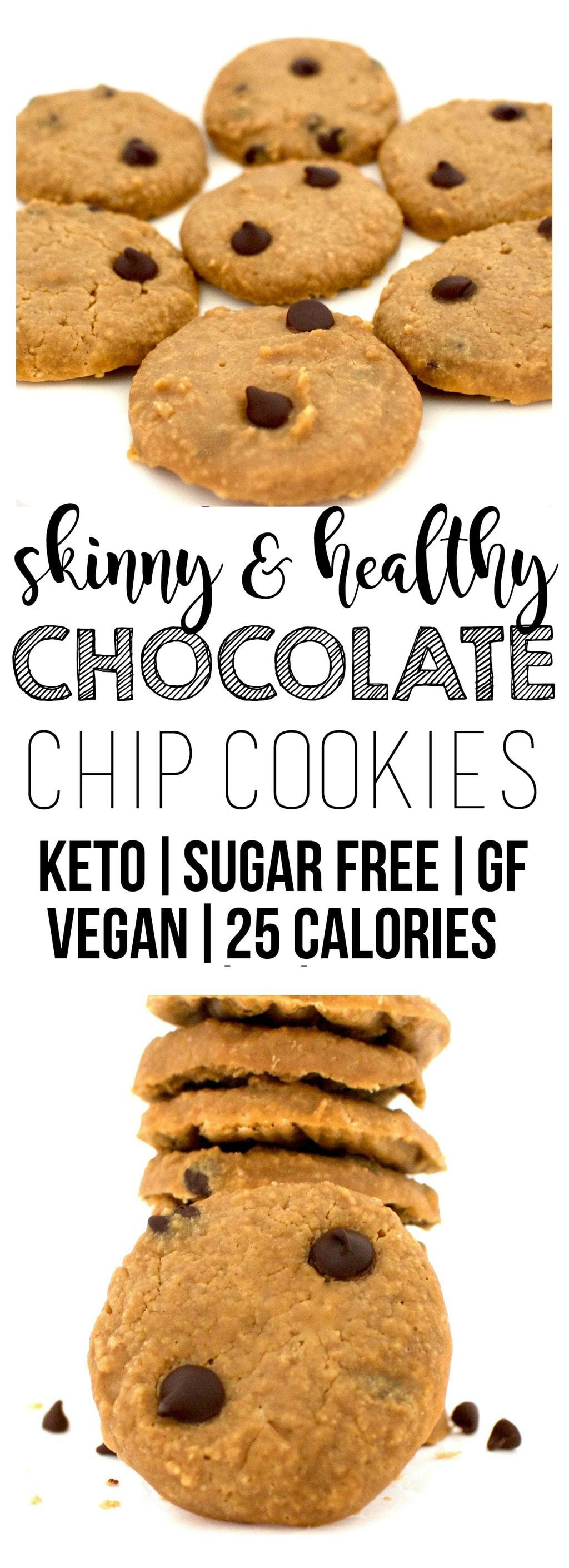These Skinny Chocolate Chip Cookies are the perfect, healthy treat! They are vegan, gluten-free, sugar-free, keto, low-carb, and super low-calorie - only 25 calories each.