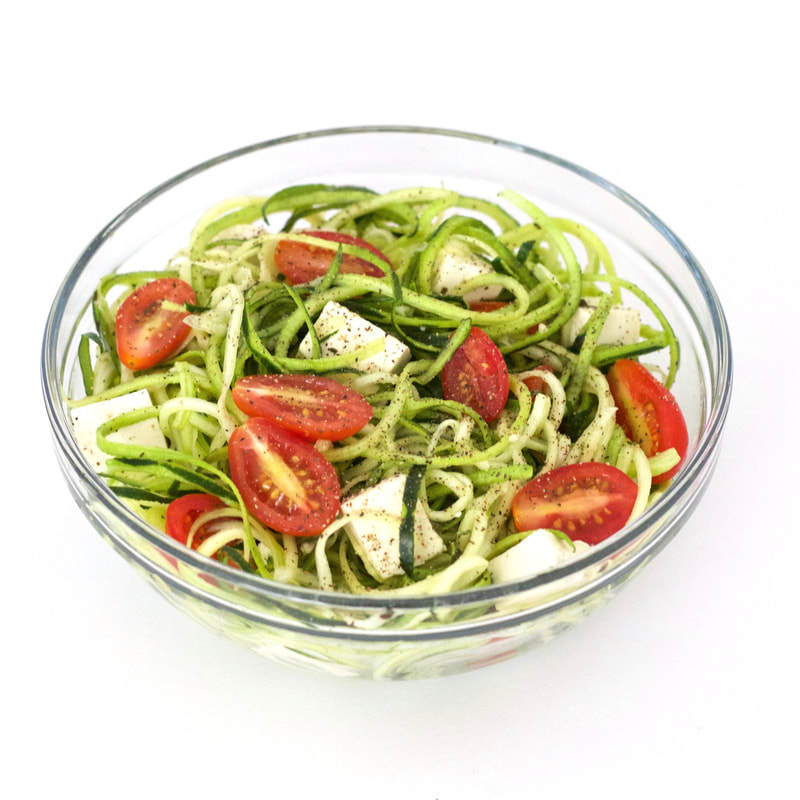 This super simple zucchini noodle salad with tofu and tomatoes is so fresh and tasty! It is packed with flavor and nutrition, yet super low in calories. Also low-carb, vegan, and gluten-free!