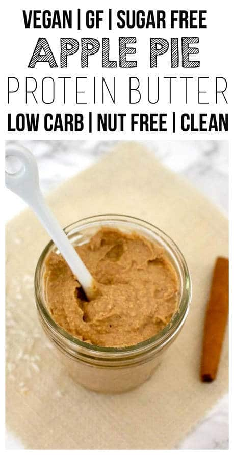 This Apple Pie Protein Butter is so delicious! It tastes like apple pie in a spreadable, peanut-butter-like form. But totally nut-free! Also vegan, gluten-free, sugar-free, and low-fat.