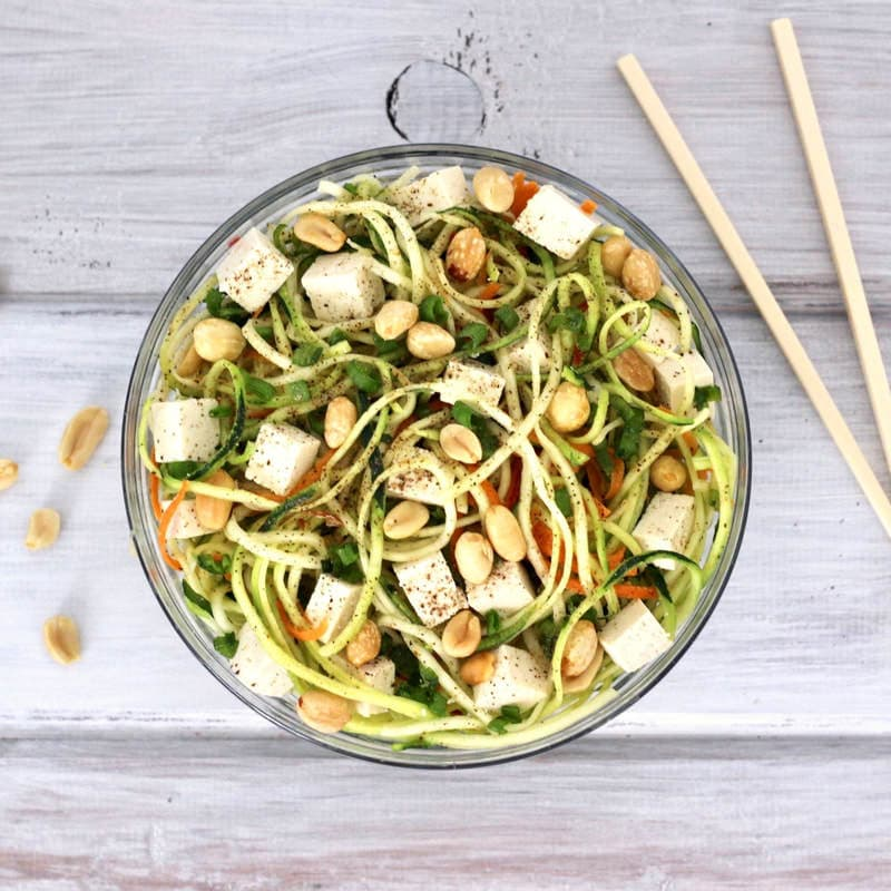 This Thai Peanut Zucchini Noodle Salad is a delicious, hearty, protein-packed salad that is bursting with flavor! The perfect combination of savory, peanutty flavor with a hint of sweetness. Vegan, gluten-free, oil-free, and low-carb.