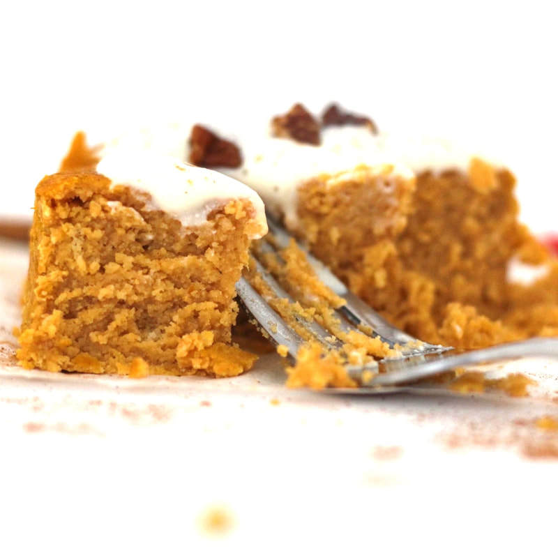 This Single Serving Pumpkin Spice Cake is AMAZING! Ready in 3 minutes and totally healthy. It's vegan, gluten-free, keto, low-carb, sugar-free, dairy-free, oil-free, and sugar-free, too!