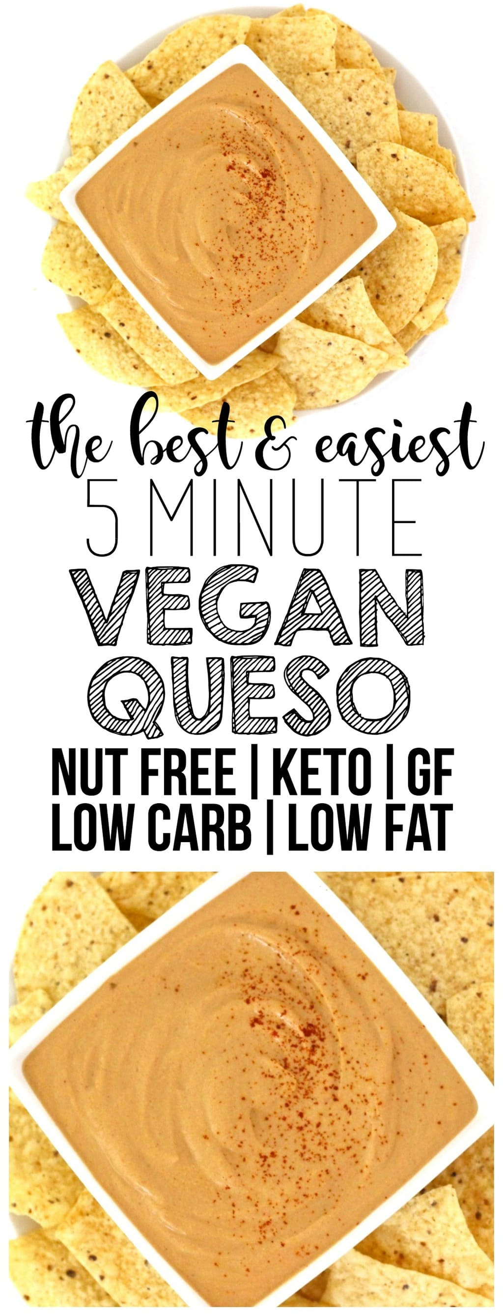 The BEST & easiest Vegan Queso that is ready in 5 minutes! (Keto, Low-Carb, Nut-Free, Oil-Free, Low-Fat, Gluten-Free, Dairy-Free)