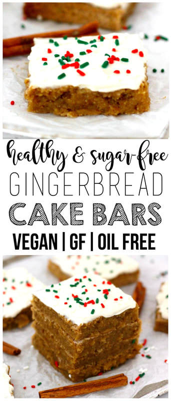 Healthy Gingerbread Cake Bars (Sugar-Free, Vegan, Gluten-Free, Oil-Free, Low-Calorie)