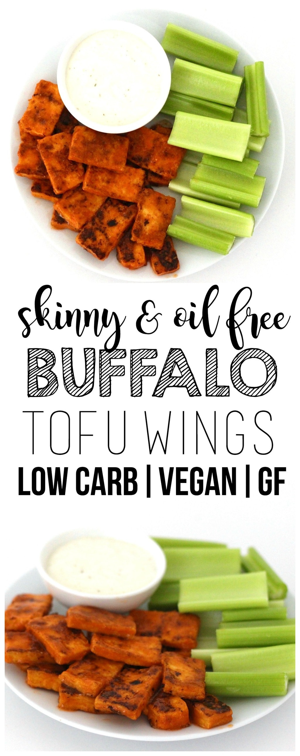 These skinny & oil-free Buffalo Tofu Wings are so delicious! The perfect party appetizer or Super Bowl snack. Low-fat, low-carb, keto, low-calorie, vegan, and gluten-free!