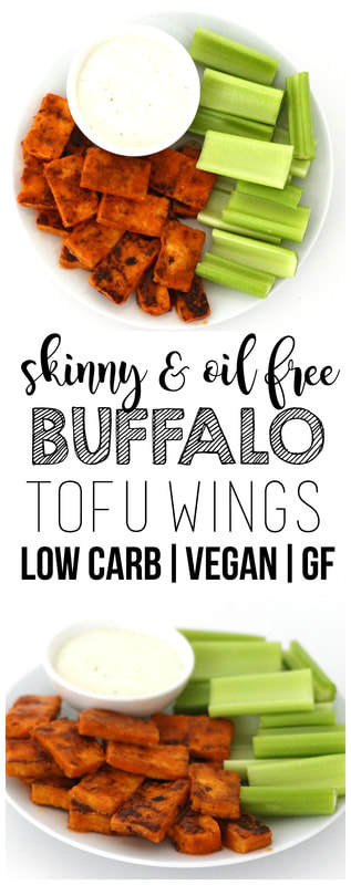 These skinny & oil-free Buffalo Tofu Wings are so delicious! The perfect party appetizer or Super Bowl snack. Low-fat, low-carb, low-calorie, vegan, and gluten-free!