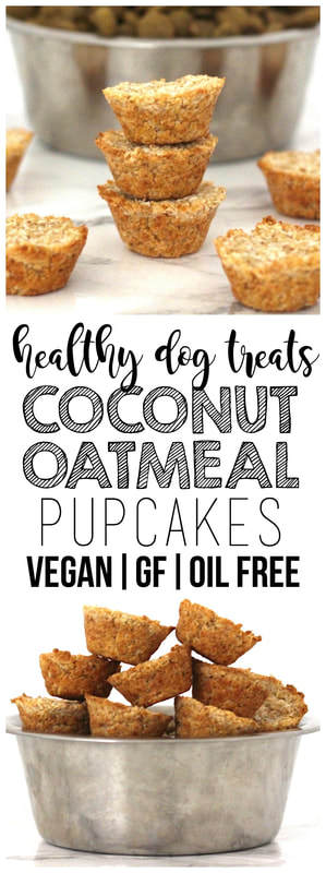 Coconut Oatmeal Pupcakes - the perfect, easy & healthy dog treat! Vegan, gluten-free, and oil-free.