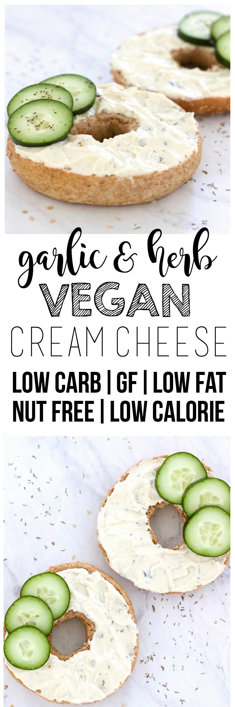 This Garlic & Herb Vegan Cream Cheese is amazing! Made with tofu & perfectly creamy and spreadable. It's also keto, gluten-free, nut-free, oil-free, low-fat, low-carb, low-calorie, and dairy-free.