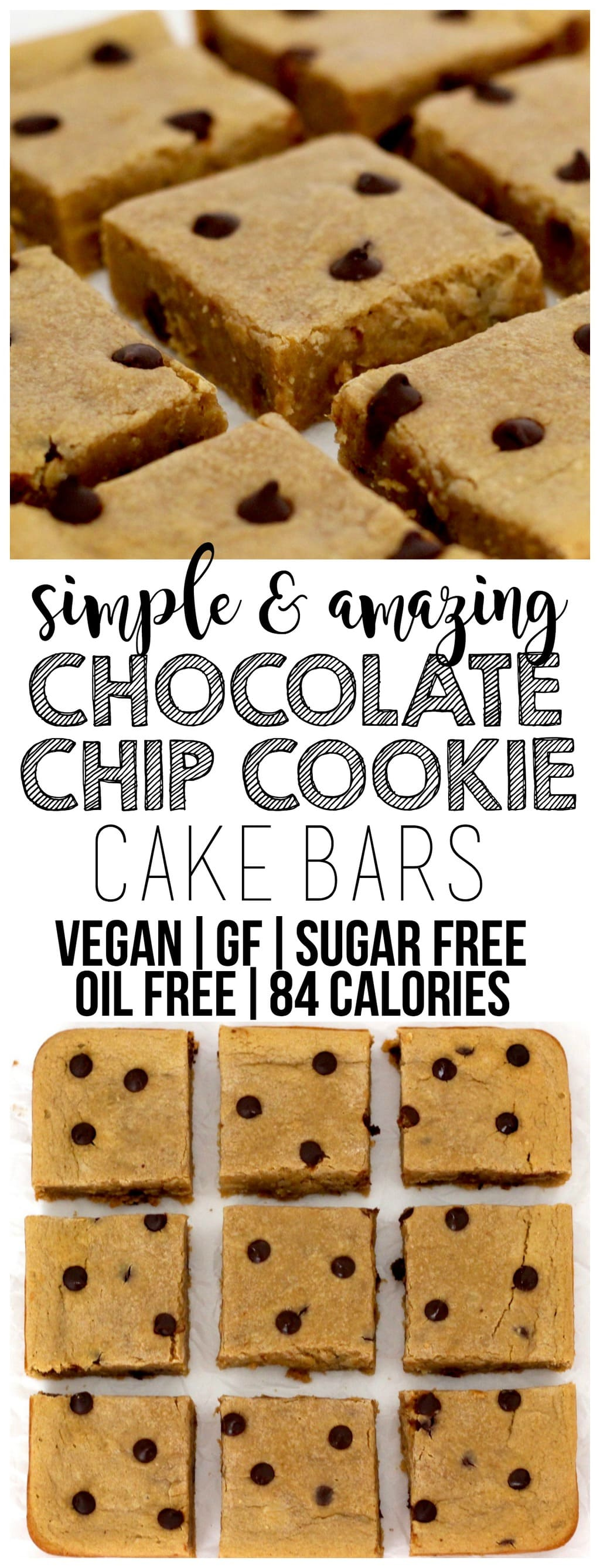 Simple & amazing Chocolate Chip Cookie Cake Bars that are vegan, gluten-free, oil-free, sugar-free, low-carb, and only 84 calories each! The perfect, kid-friendly, healthy, low-calorie dessert.