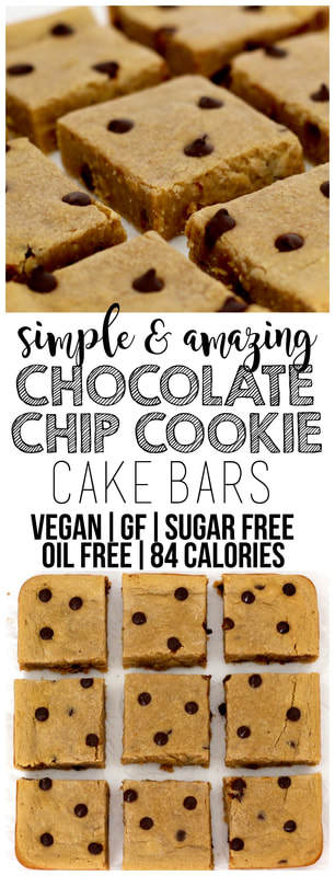 Simple & amazing Chocolate Chip Cookie Cake Bars that are vegan, gluten-free, oil-free, sugar-free, and only 84 calories each! The perfect, kid-friendly, healthy, low-calorie dessert.