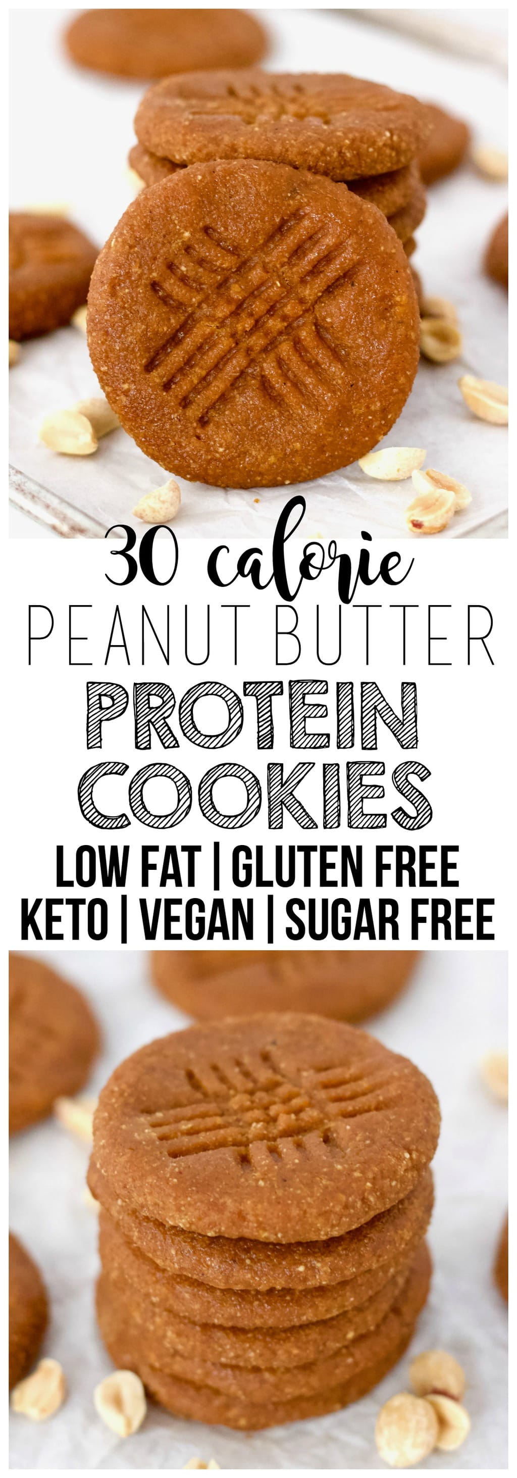 These soft & chewy Keto Vegan Peanut Butter Protein Cookies are the perfect, healthy dessert or snack! They're also  gluten-free, sugar-free, oil-free, low-fat, low-carb & low-calorie - only 30 calories each!