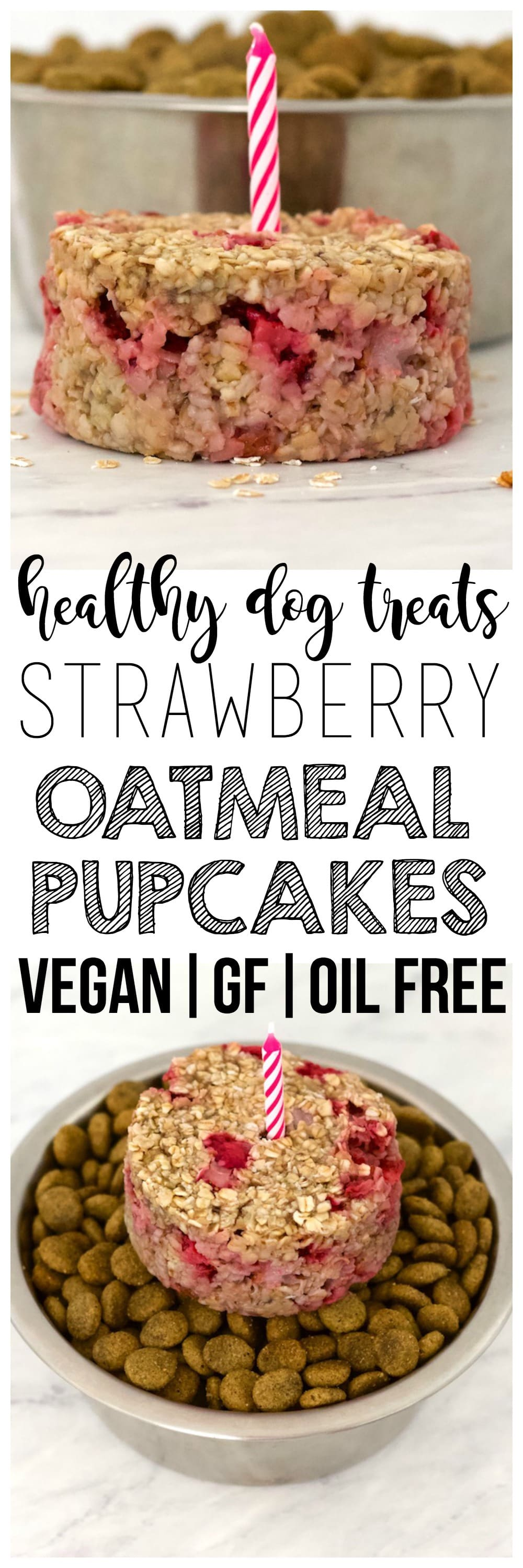 These simple, 4-ingredient Strawberry Banana Oatmeal Pupcakes are the perfect, healthy, homemade dog treat for your sweet fur babies! They are vegan, gluten-free, low-fat, oil-free, and contain no added sugar.