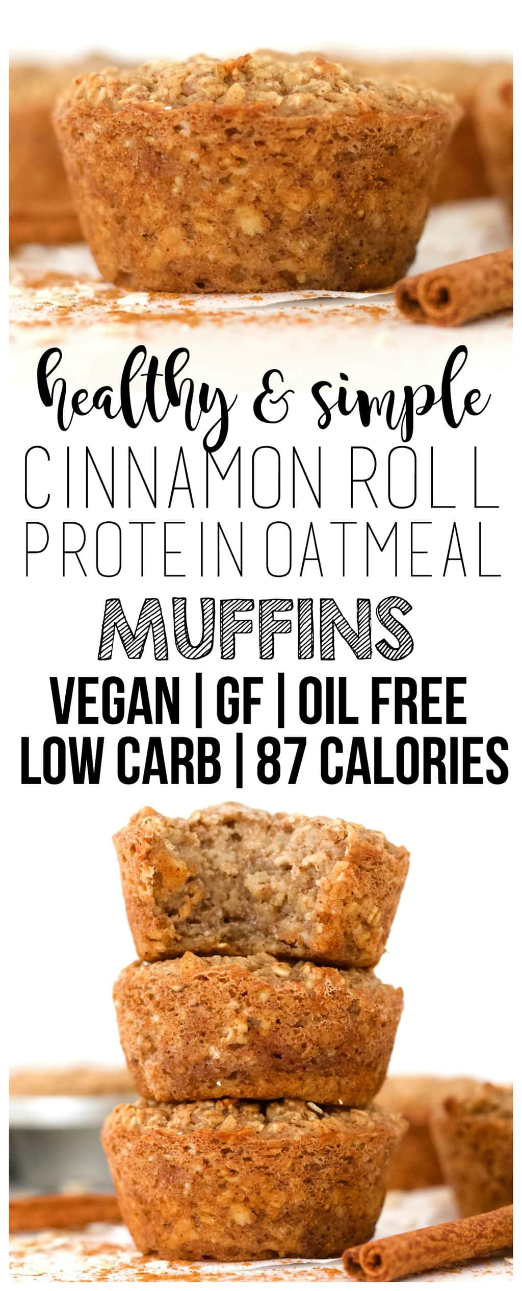You will LOVE these super healthy & delicious Cinnamon Roll Protein Oatmeal Muffins! They are vegan, gluten-free, dairy-free, sugar-free, oil-free, low-carb, and low-calorie - only 87 calories each! Made with tofu for a powerful protein boost - the perfect, filling, vegan breakfast.