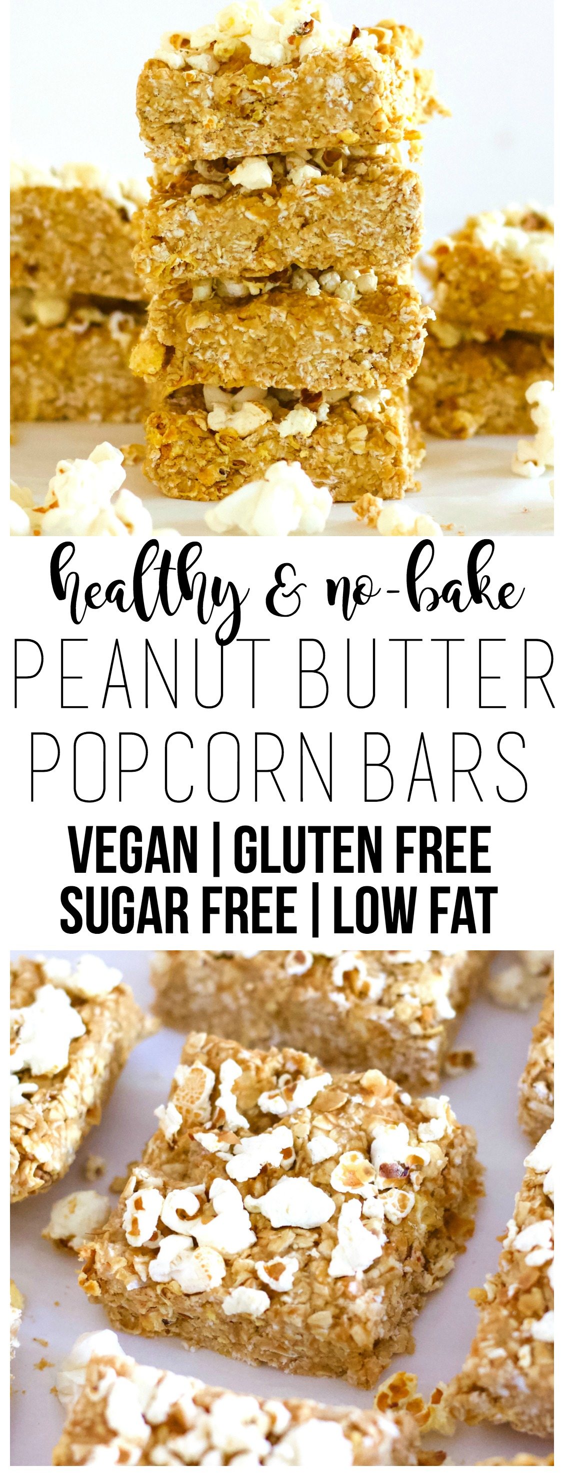 These No-Bake Peanut Butter Popcorn bars are totally delicious! They're super healthy and the perfect kid-friendly snack or treat. They are vegan, gluten-free, low-fat, dairy-free and sugar-free.