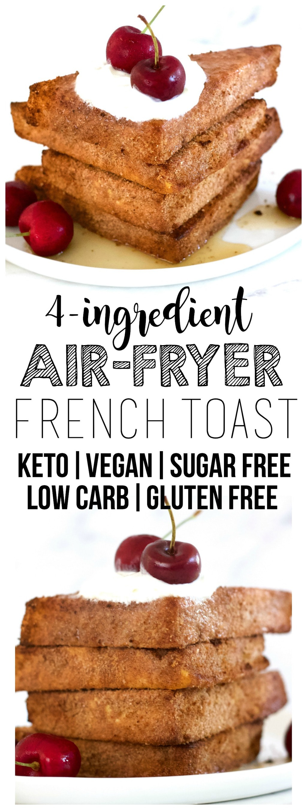 "This Air-Fryer Vegan French ""Toast"" is totally delicious!! It's also keto, low-carb, sugar-free, dairy-free, gluten-free, oil-free & packed with protein, making it the perfect, healthy breakfast. Ready in 20 minutes or less!"
