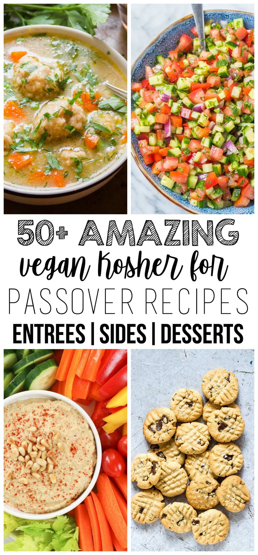 Here is an amazing collection of The 50+ BEST Vegan Kosher For Passover Recipes including main courses, sides, and desserts! All recipes are completely grain-free, so they are perfect for your Passover festivities.