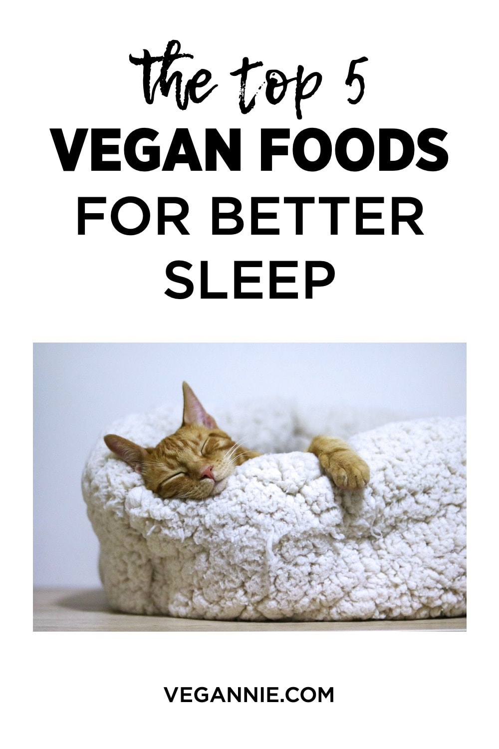 Your ultimate guide to better sleep! The TOP 5 best vegan foods that will help you get a great night's sleep.