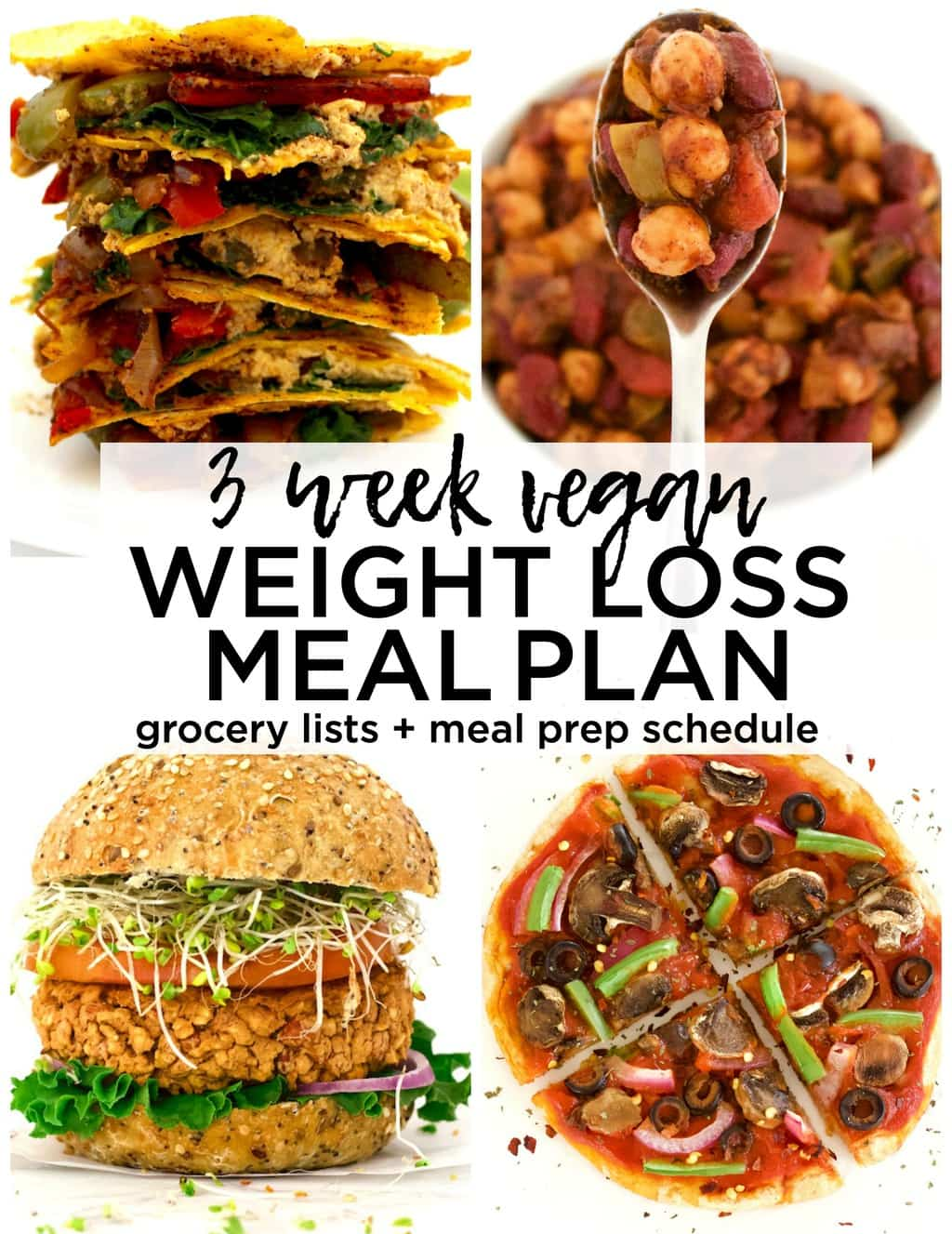 This AMAZING 3-week vegan meal plan will help you lose weight and achieve your goals! Complete with 21 day's worth of simple & delicious recipes, grocery lists, and meal prep schedules. All recipes are also gluten-free & contain no refined sugar!
