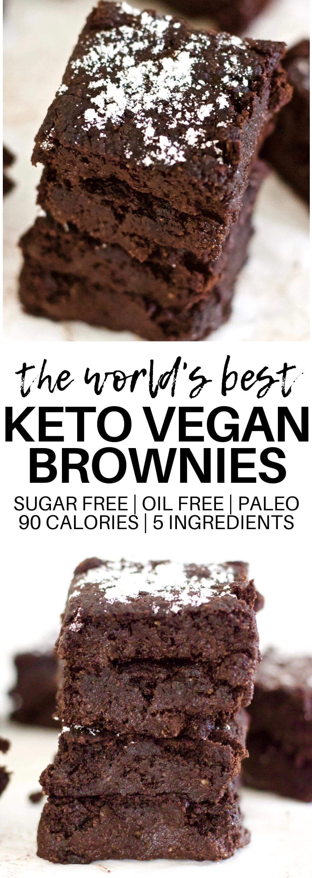 These AMAZING 5-Ingredient Keto Vegan Brownies are totally life-changing! They are ooey, gooey, and absolutely delicious. They're also sugar-free, oil-free, paleo, dairy-free and low-calorie - only 90 calories each!