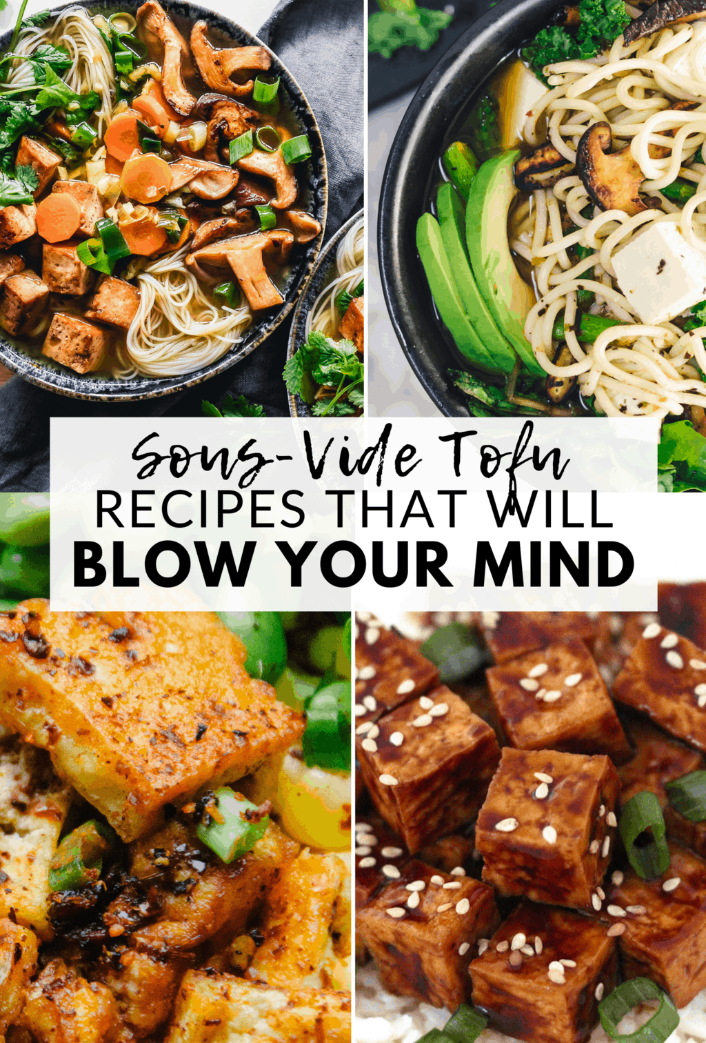 Here are 3 incredible sous-vide tofu recipes that will blow your mind! Sous-vide tofu is cooked for longer at a lower temperature resulting in BIG flavor, perfectly crispy tofu every time. All recipes are vegan and gluten-free, too!