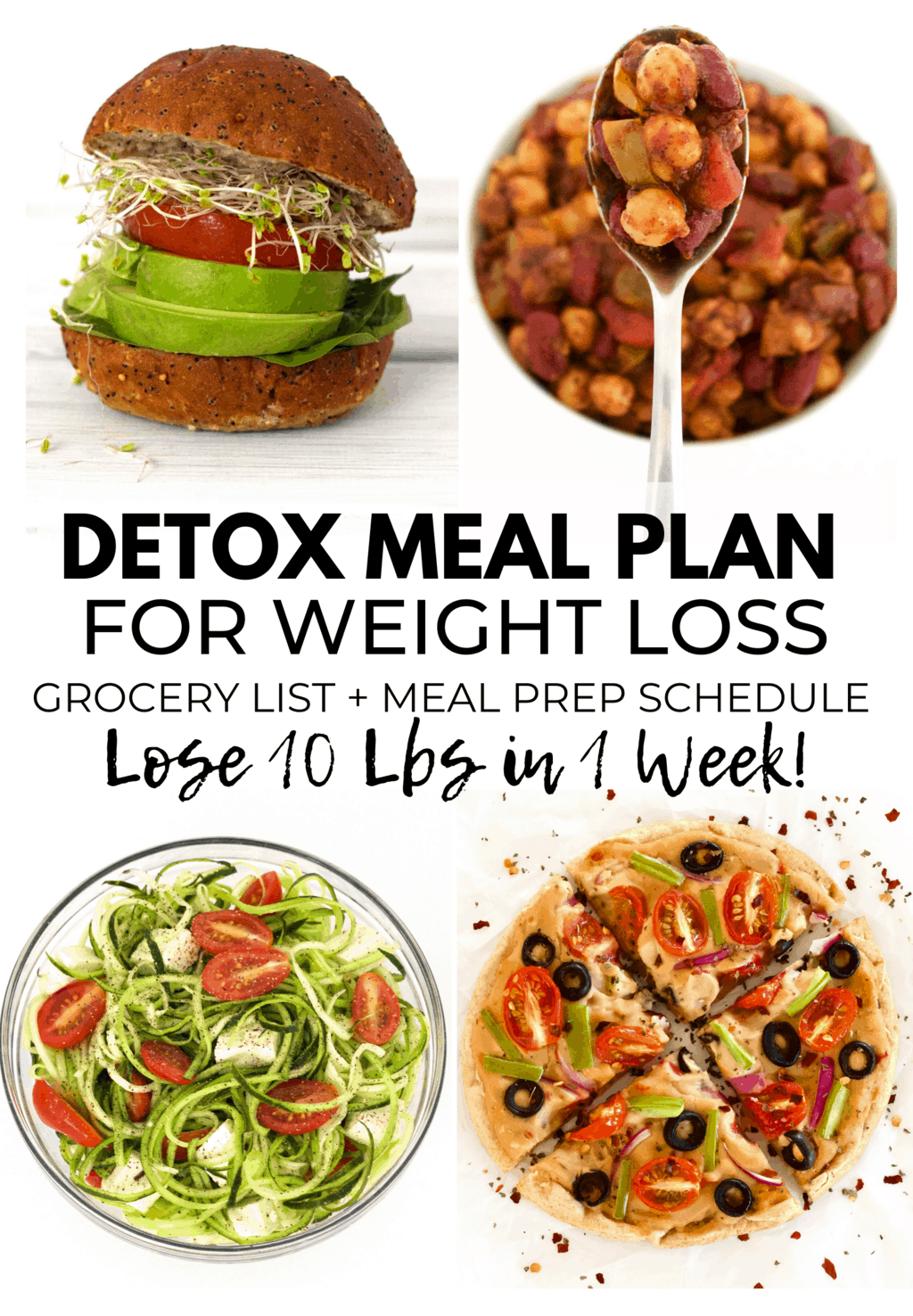 A 7-Day Vegan Detox Meal Plan that will help you lose weight, reset, and get you back on track! Complete with 21 simple & delicious recipes, grocery list, and meal prep schedule. All recipes are gluten-free and contain no added sugar!