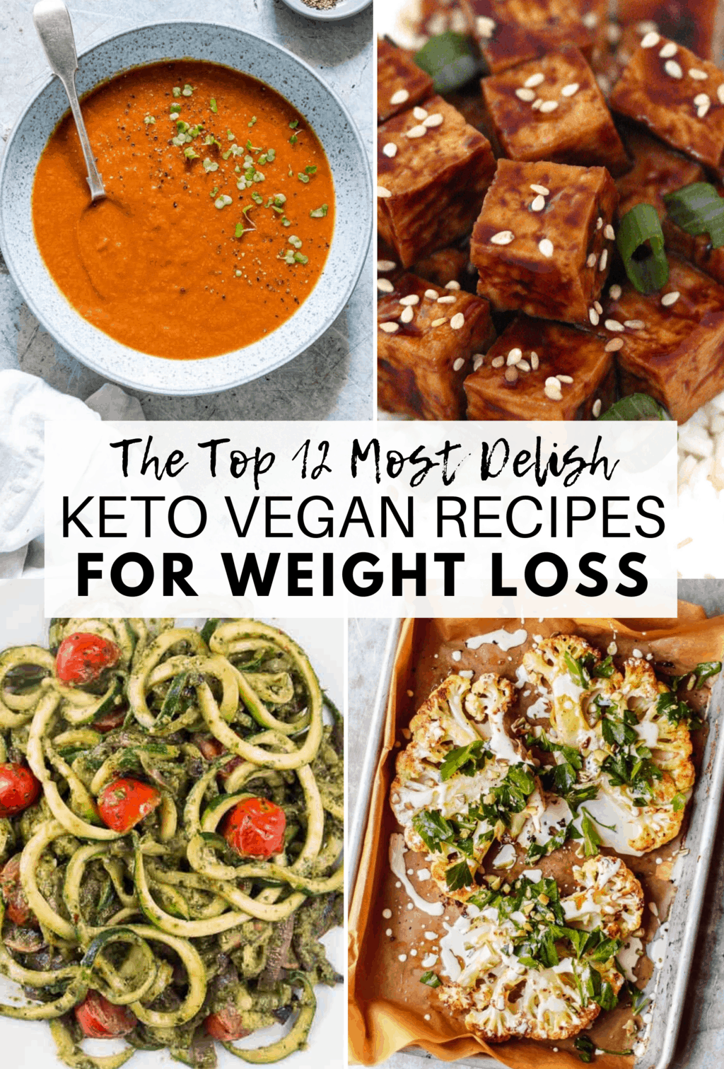 Here are the 12 BEST Keto Vegan Recipes for Weight Loss that are absolutely divine! They'll help you trim down and achieve your weight loss goals in a delicious and delightful way. All recipes are gluten-free, dairy-free and sugar-free, too!